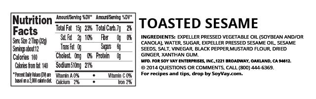 Toasted Sesame Dressing nutritional information