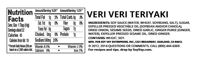 Veri Veri Teriyaki® Marinade & Sauce nutritional information