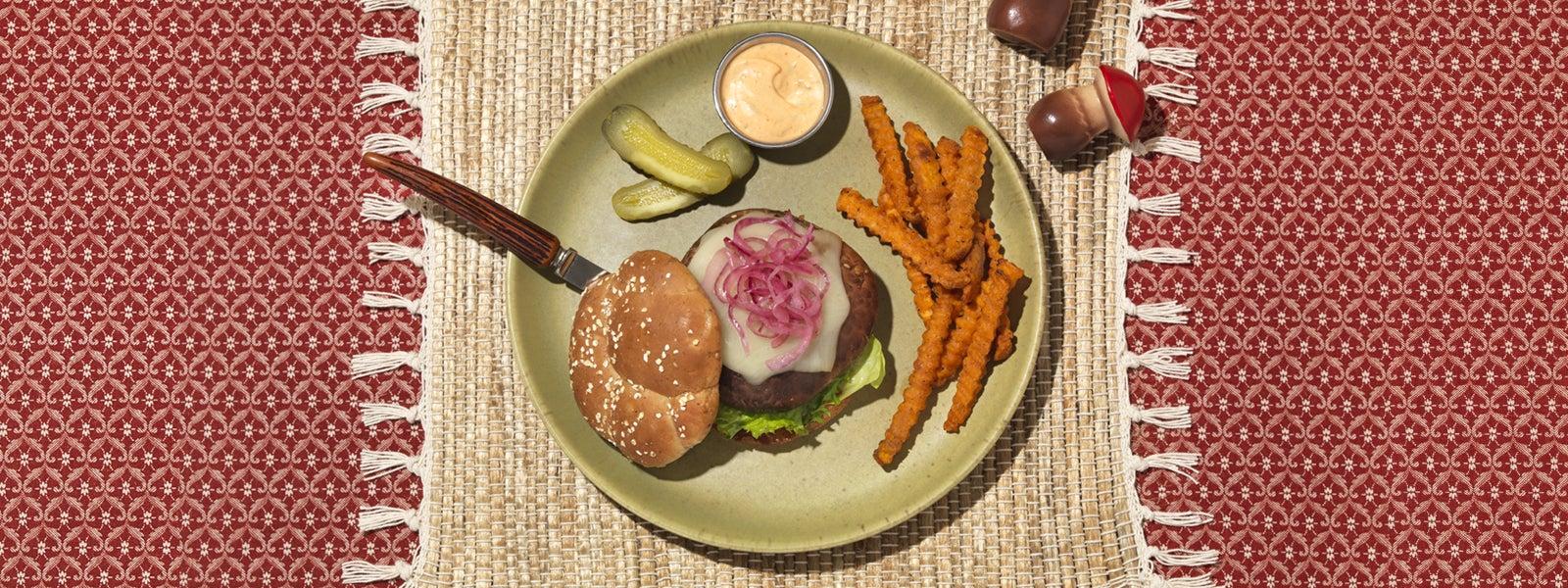 Grilled Teriyaki Portobello Burgers with Smoked Gouda