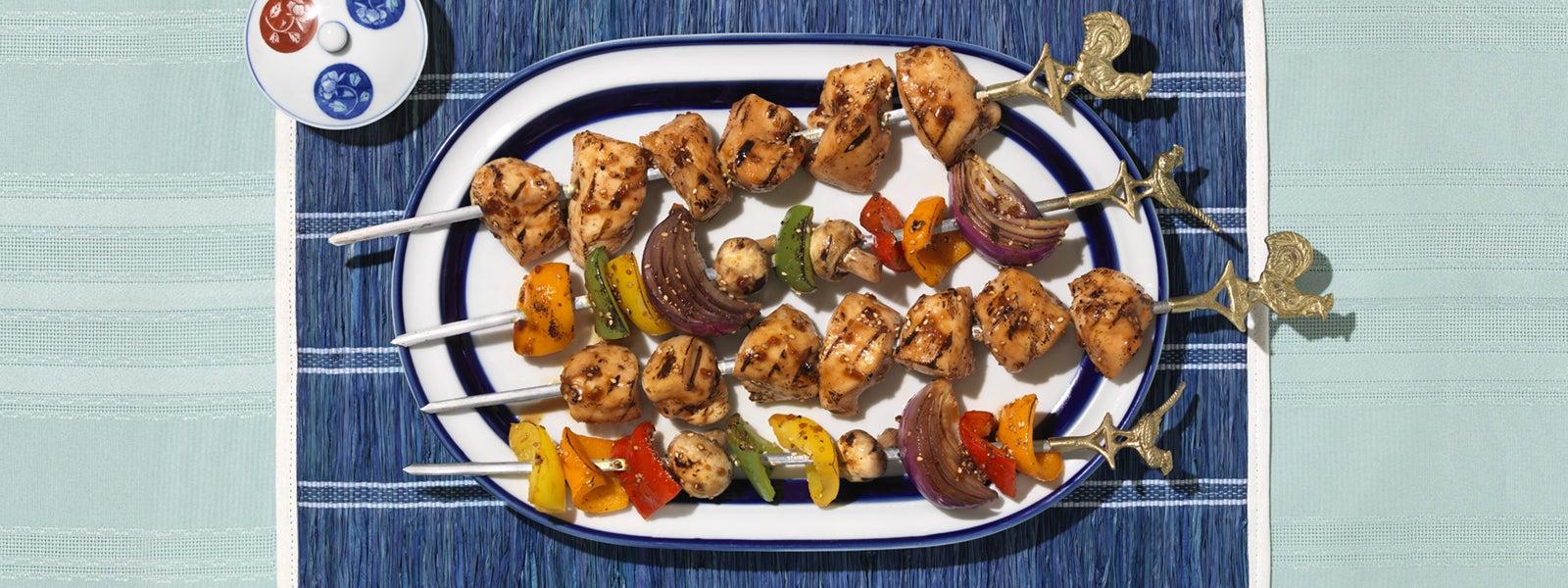 Teriyaki Grilled Chicken & Vegetable Skewers