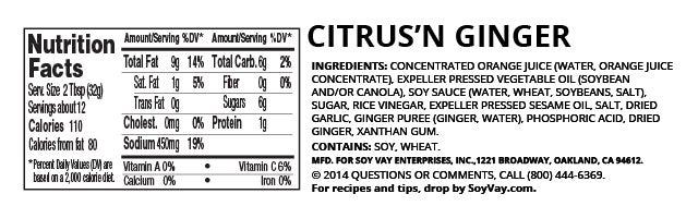 Citrus 'N Ginger Dressing nutritional information