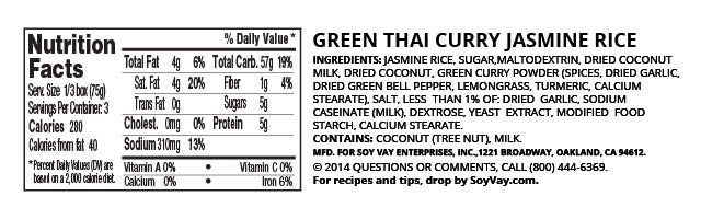 Green Thai Curry Jasmine Rice nutritional information