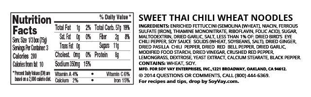 Sweet Thai Chili Wheat Noodles nutritional information