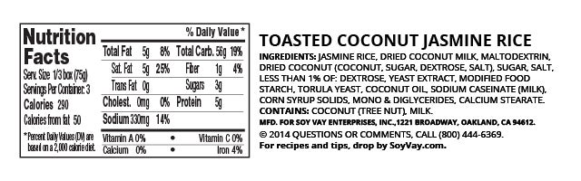 Toasted Coconut Jasmine Rice nutritional information