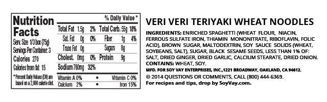 Veri Veri Teriyaki® Wheat Noodles nutritional information