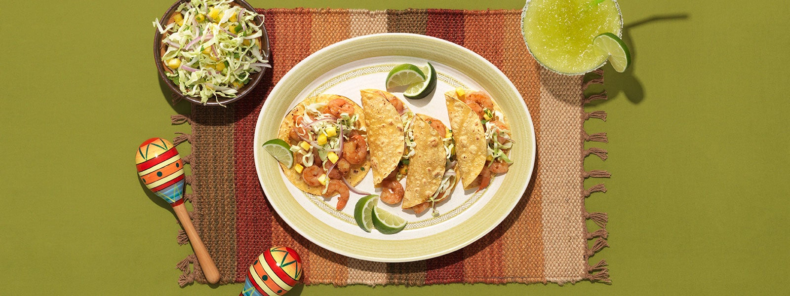 Island Shrimp Tacos with Cabbage & Pineapple Slaw