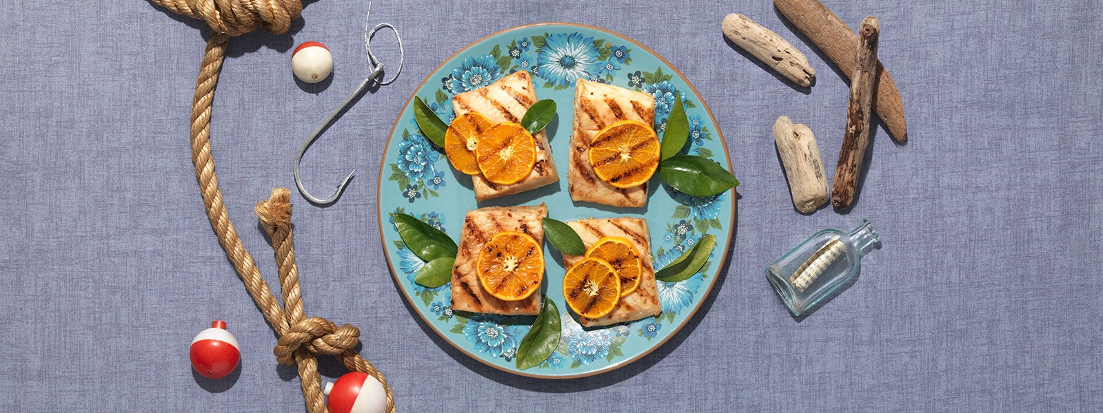 Teriyaki Marinated Halibut with Grilled Oranges