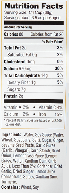 Malaysian Ginger Curry Simmer Sauce nutritional information