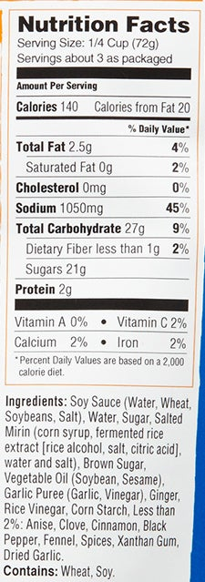 Sweet Chinese Five-Spice Simmer Sauce nutritional information