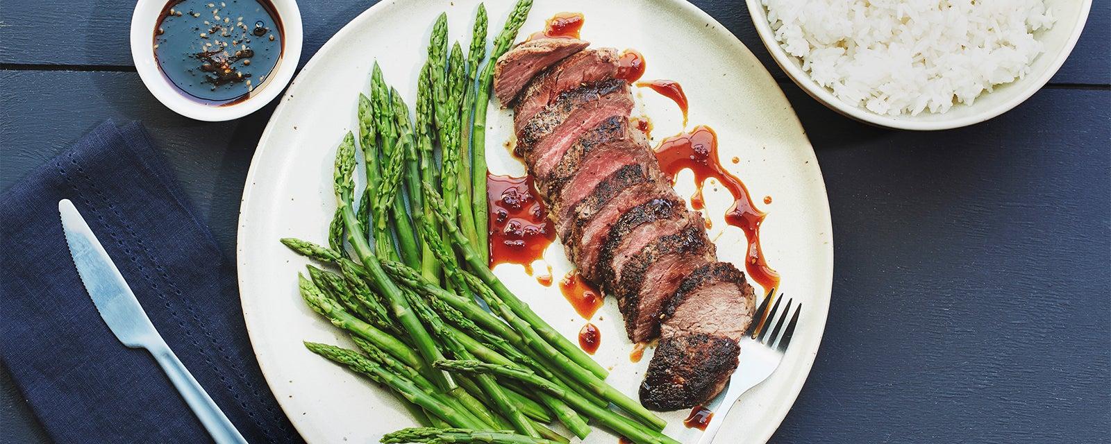 Beef Tenderloin w/ Teriyaki Reduction & Asparagus