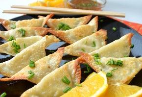 Baked Asian Pierogies with Orange Teriyaki Dipping Sauce