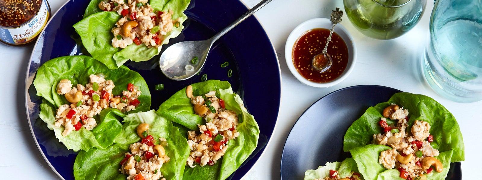 Asian Honey Chicken Cashew Lettuce Cups
