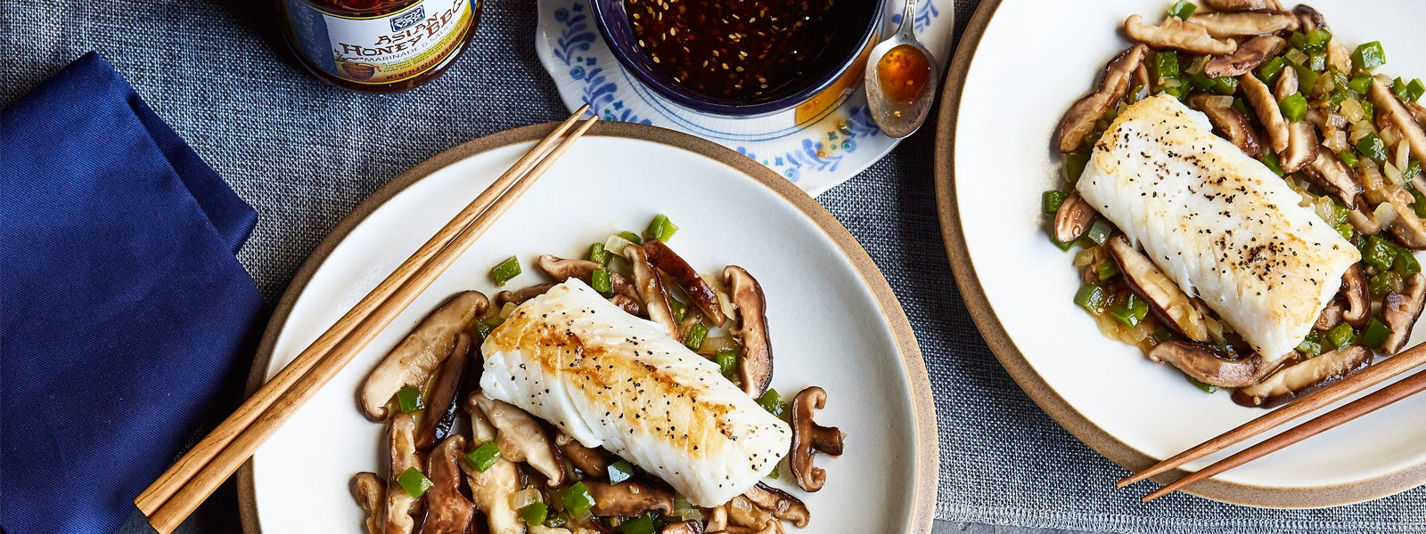 Asian Honey Cod with Mushrooms & Peppers