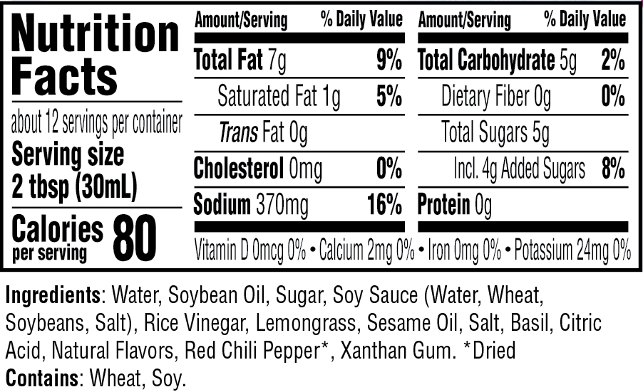 Lemongrass Vinaigrette Dressing nutritional information