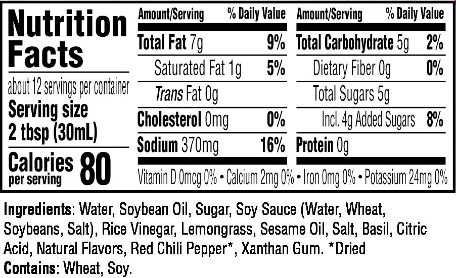 Lemongrass Vinaigrette Dressing nutritional information