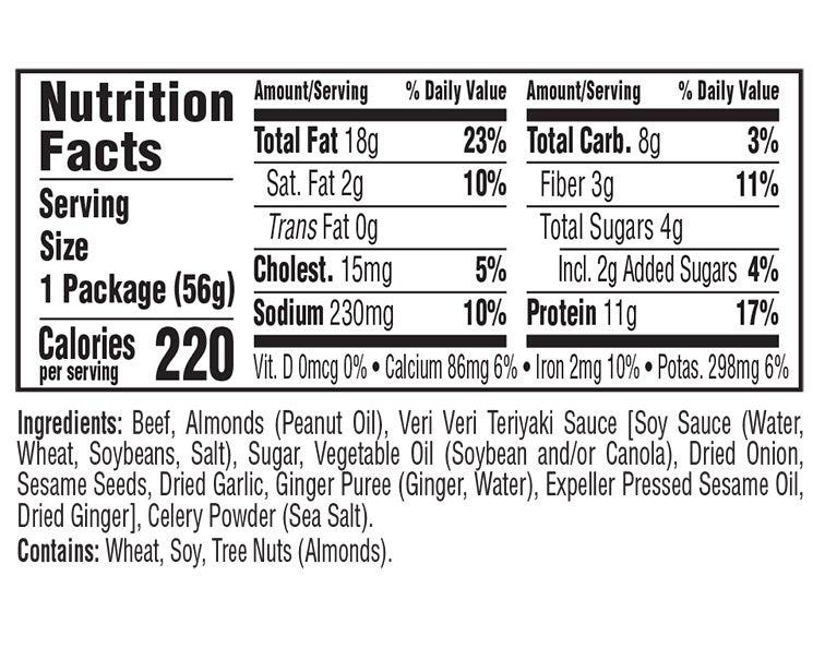 Teriyaki Beef & Roasted Almonds Veri Veri Jerky Snack Mix nutritional information