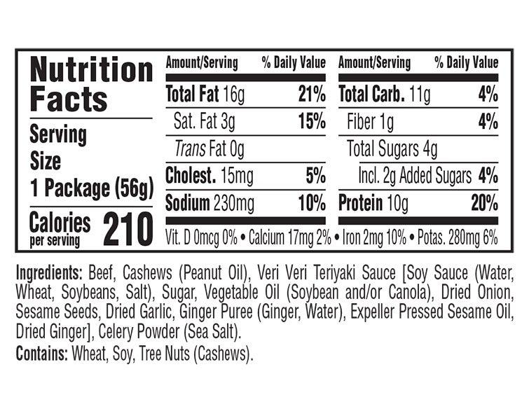 Teriyaki Beef & Cashews Veri Veri Jerky Snack Mix nutritional information