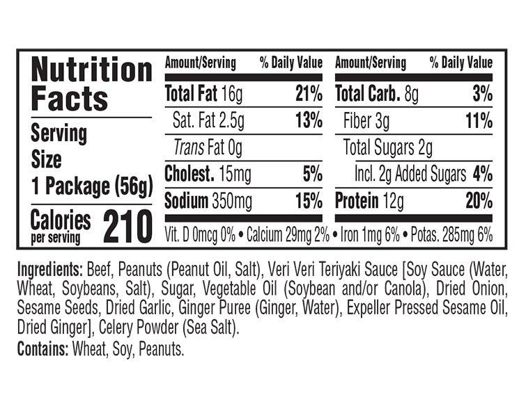 Teriyaki Beef & Roasted Peanuts Veri Veri Jerky Snack Mix nutritional information