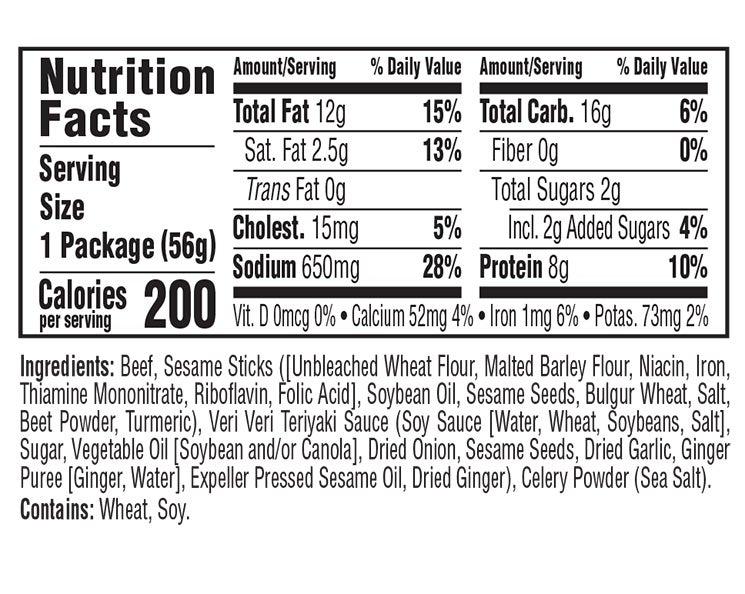 Teriyaki Beef & Sesame Sticks Veri Veri Jerky Snack Mix nutritional information